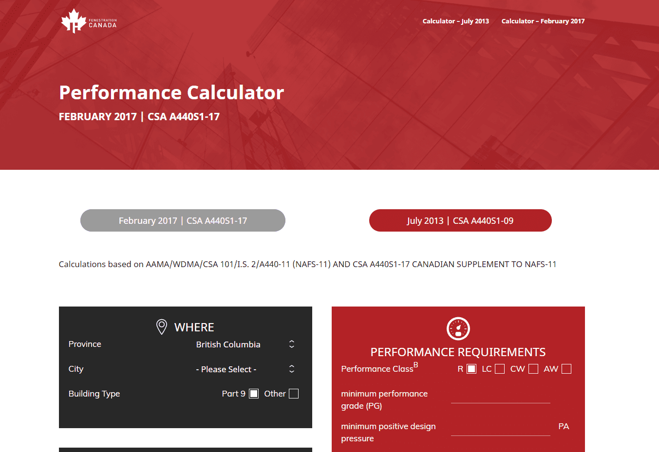 Fenestration Canada Calculator screenshot