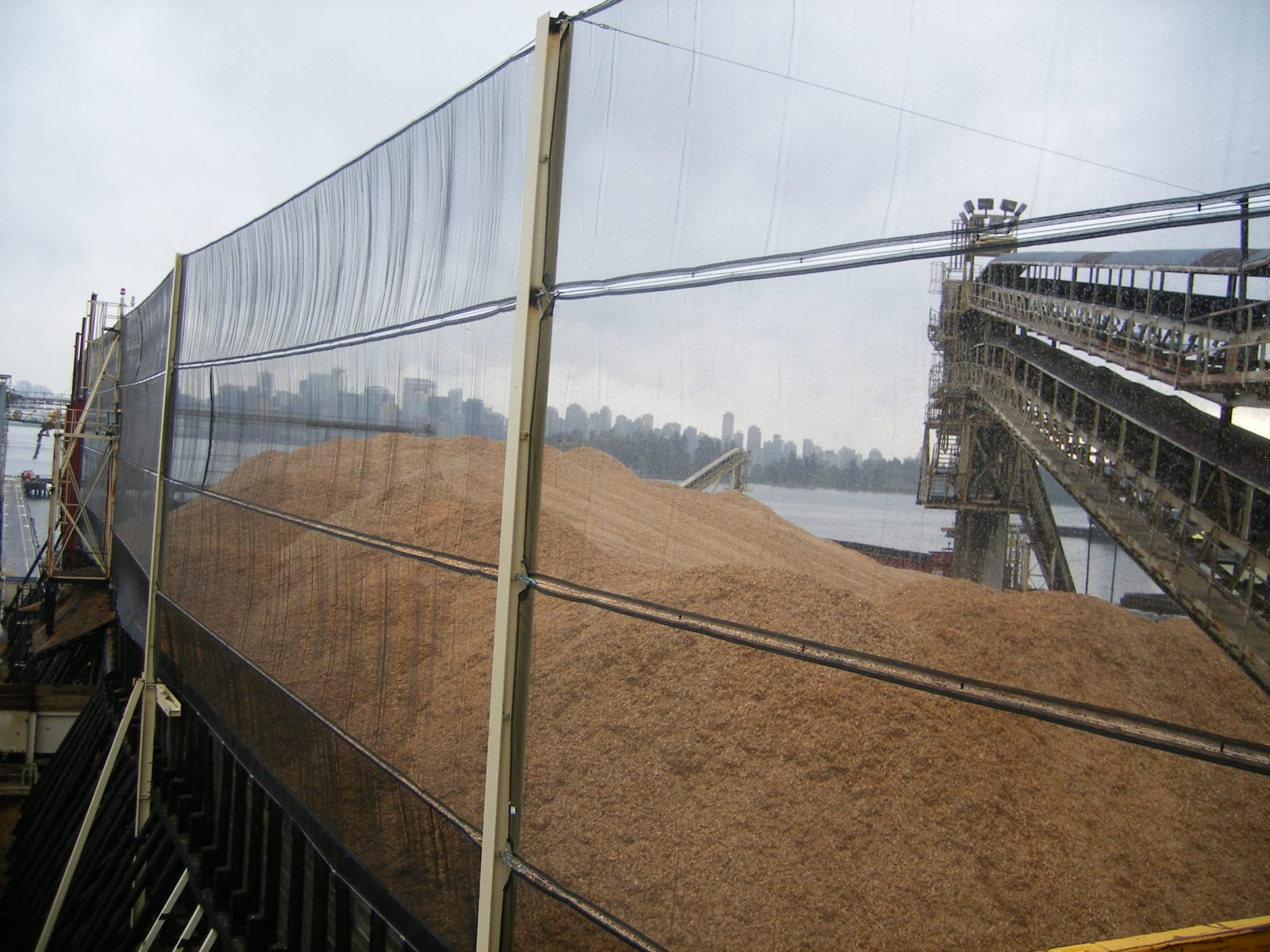 Dust control for wood chips