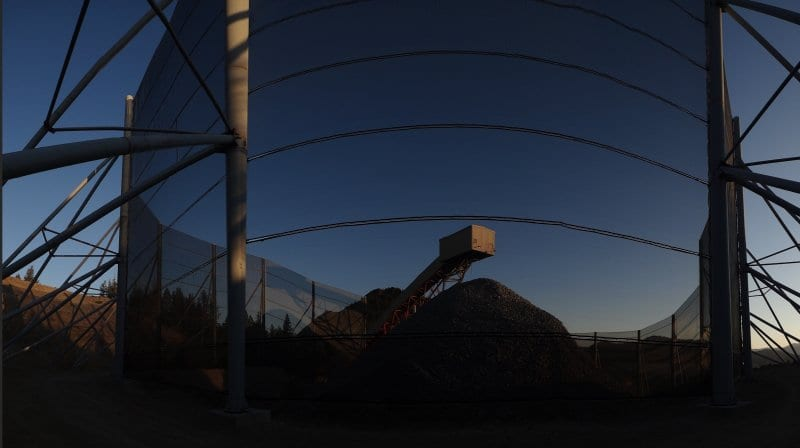 Dust control - Dust solution for a conical stock pile at a mine