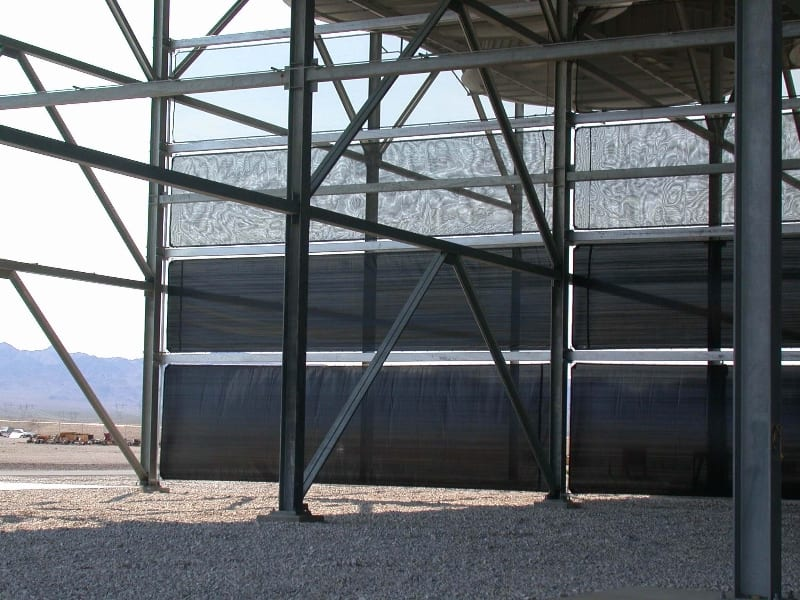 Cladding style wind deflection - 13m (40ft) x 110m (400ft) Cladding style dust solution for a cooling tower USA