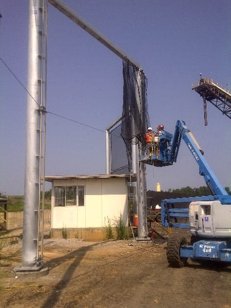 Fabric installation of a dust control fencing - Fabric installation of a dust control for coal facility