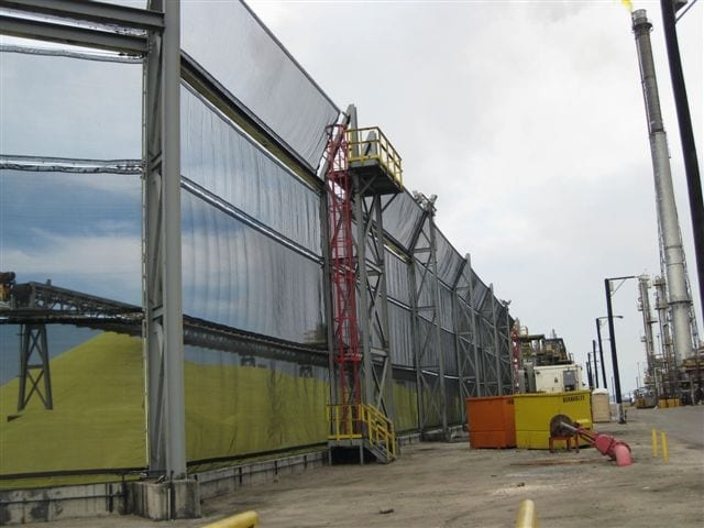 Wind protection sulfur pile