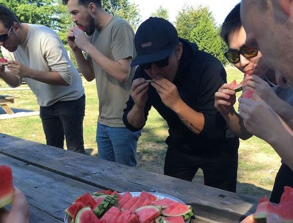 Envisio team watermelon eating contest