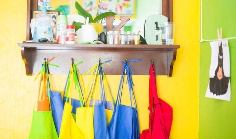 Photo of aprons hanging in a classroom